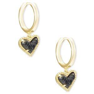Kendra Scott Ari Heart Earrings in Black Drusy-NWT